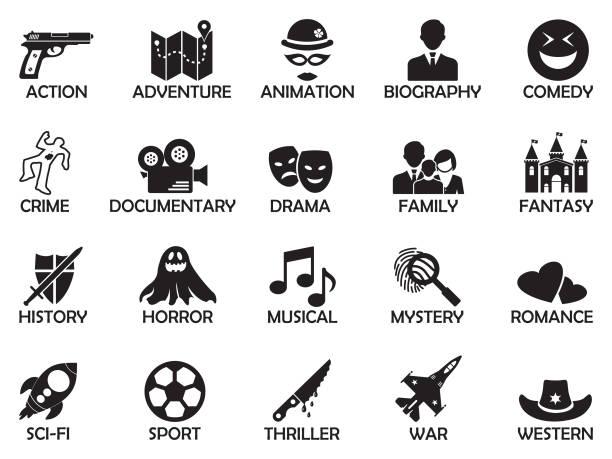 illustrazioni stock, clip art, cartoni animati e icone di tendenza di film genres icons. black flat design. vector illustration. - thriller