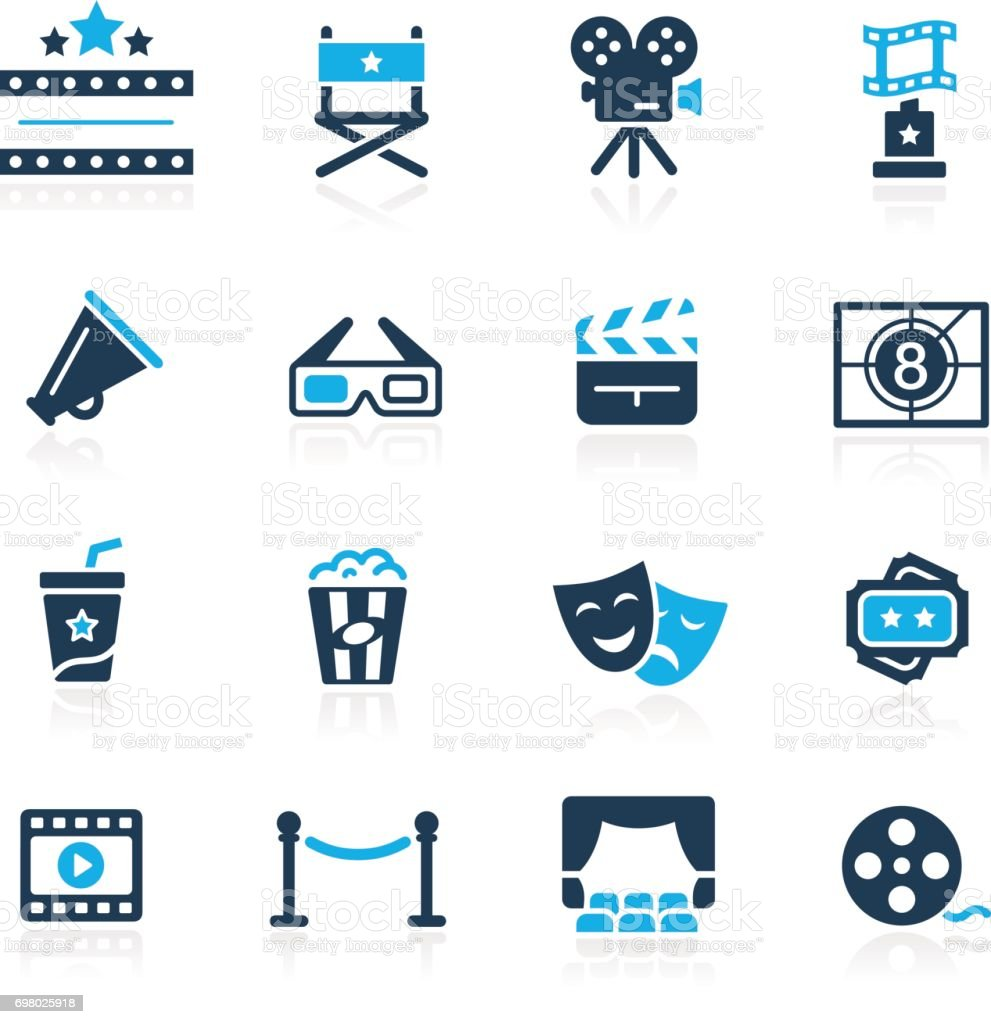 Film Industry and Theater Icons // Azure series vector art illustration