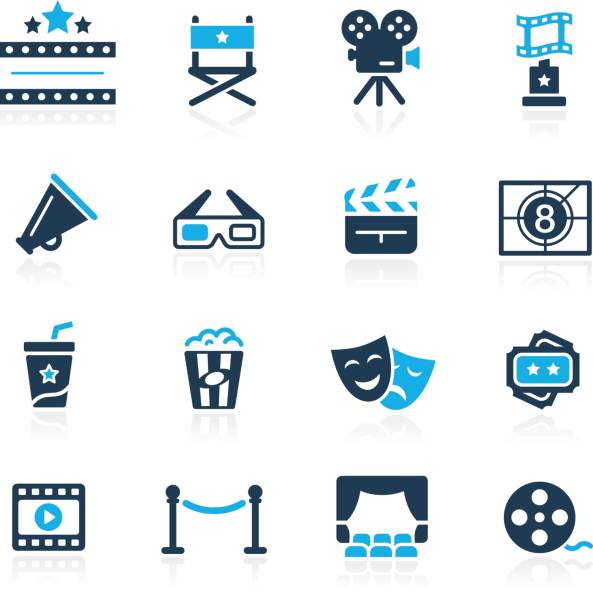 film industry and theater icons // azure series - oscars stock illustrations, clip art, cartoons, & icons