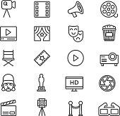 Film Industry Cinema Theatre Line icons | EPS10