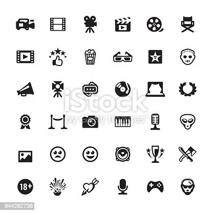 Film industry design - Ultimate pack #52  36 exclusive and professionally created vector icons set. Complete collection https://www.istockphoto.com/collaboration/boards/mzrx2NNkGUed1WzIqlF5AA