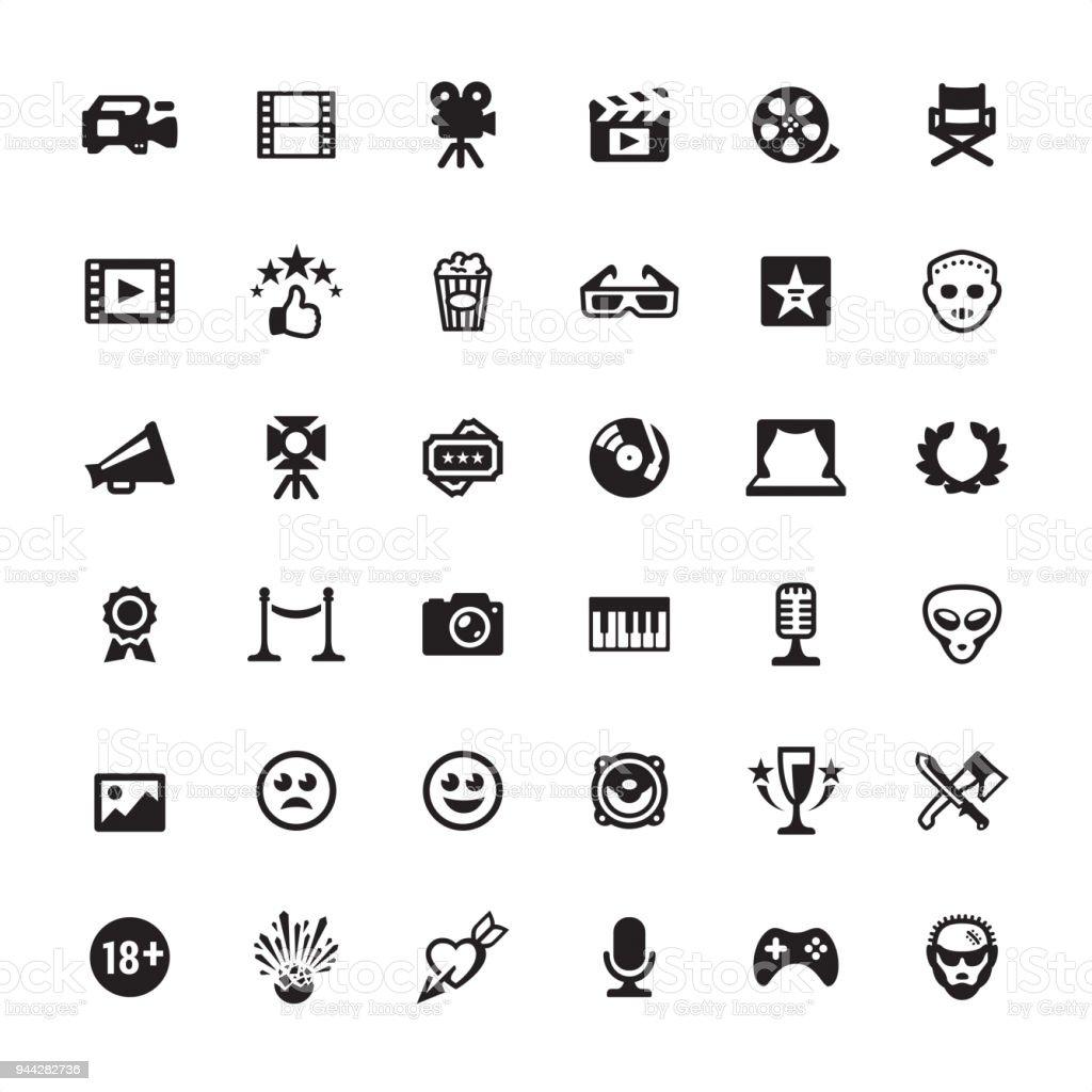 Film jeu d'icônes de l'industrie - Illustration vectorielle