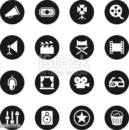Film Industry Icons Black Circle Series Vector EPS10 File.