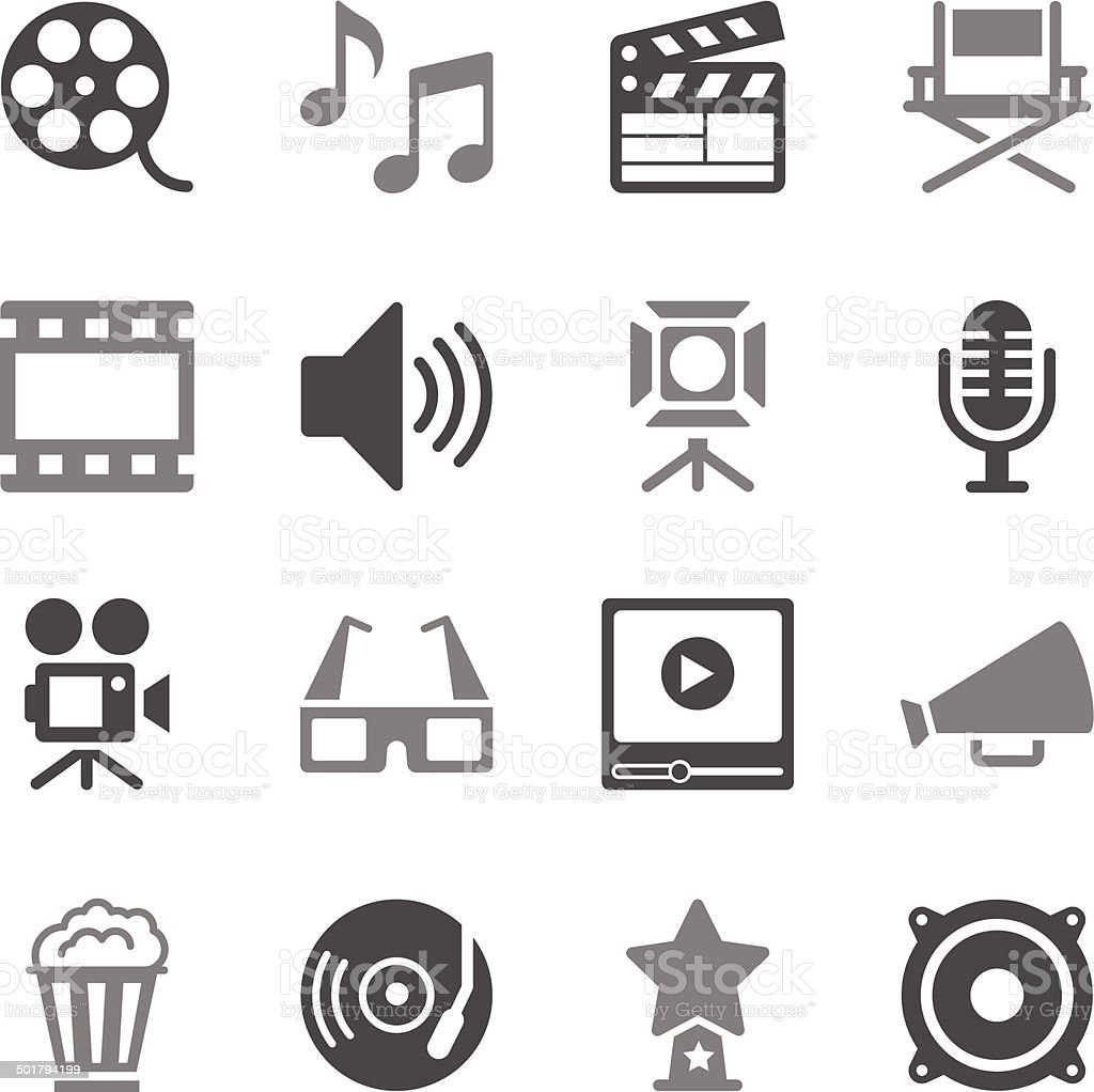 Film Industry Icons Gray Color vector art illustration