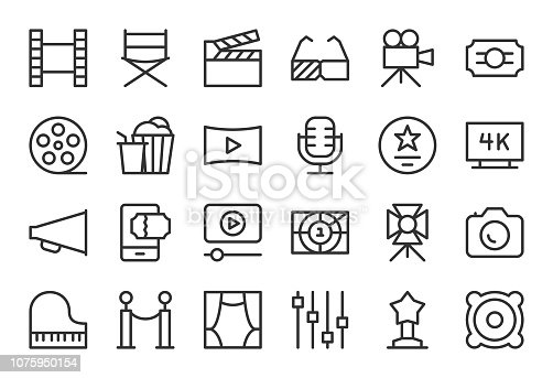 Film Industry Icons Light Line Series Vector EPS File.