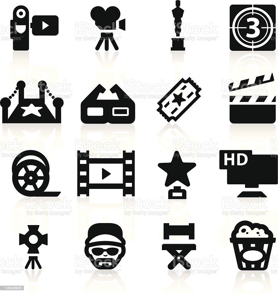 Film industry icons set Elegant series vector art illustration