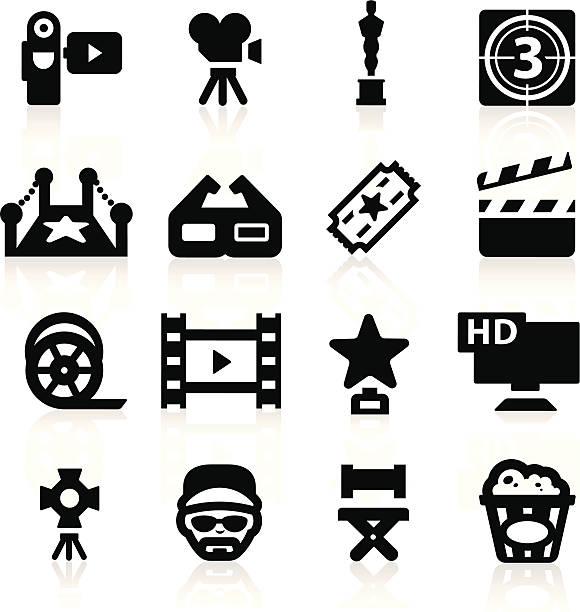 illustrations, cliparts, dessins animés et icônes de de l'industrie de film ensemble d'icônes élégante série - camera sculpture