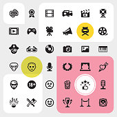 Film industry UI Ultimate.  36 exclusive PRO vector icons set /  pack #52 Perfect grouped and Isolated on color background.  Complete collection - https://www.istockphoto.com/collaboration/boards/A0mzEqrsTUuc-1_uXXg_EQ