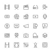 Film Industry Icons Thin Line Series Vector EPS File.