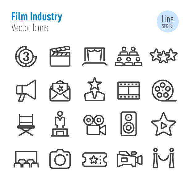 Film Industry Icons - Vector Line Series Film Industry, Movie, premiere event stock illustrations