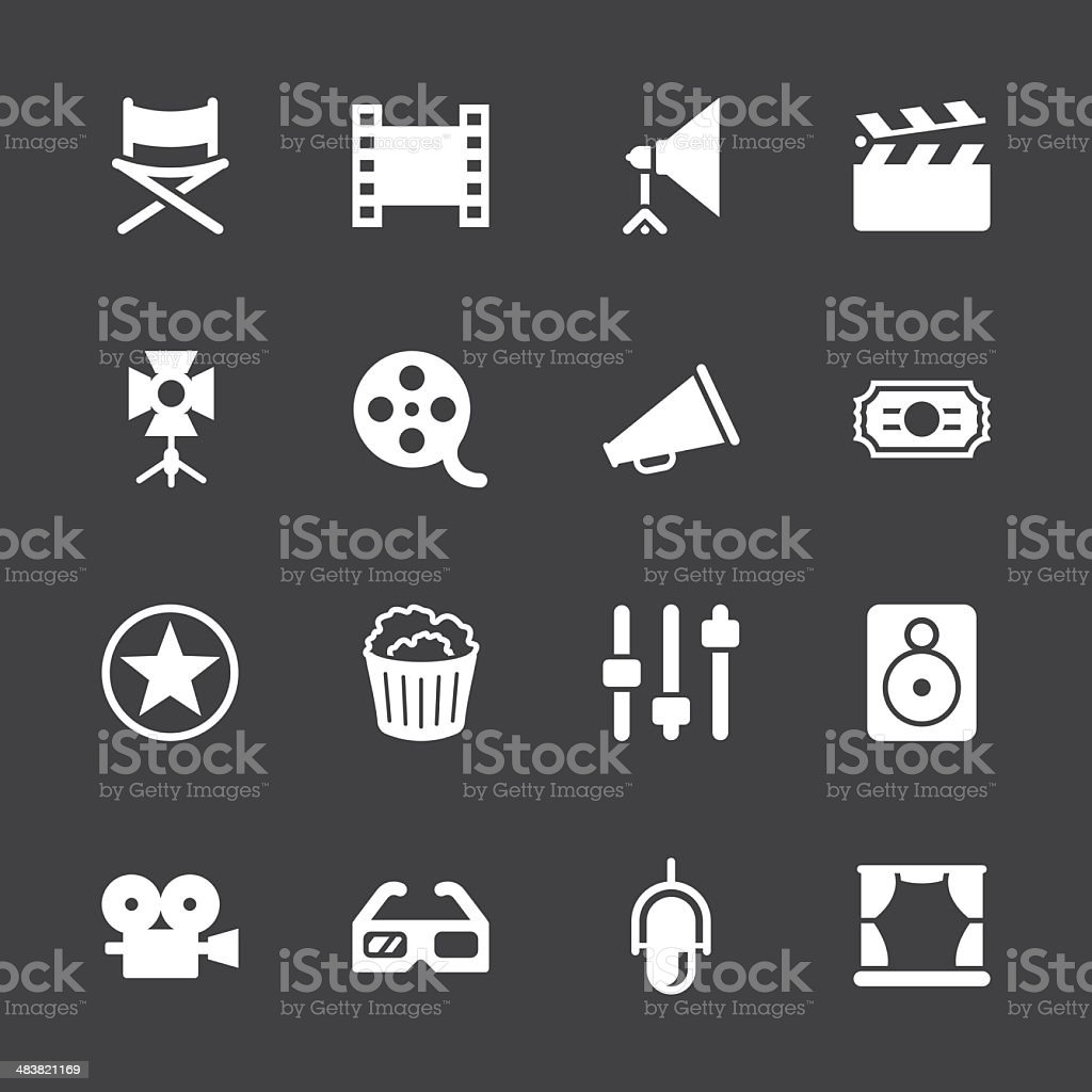 Film Industry Icons - White Series | EPS10 royalty-free film industry icons white series eps10 stock vector art & more images of 3-d glasses