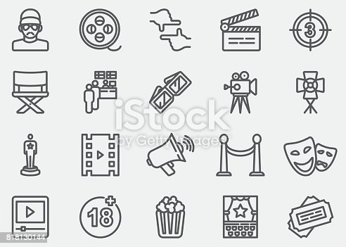 Film industry Line Icons