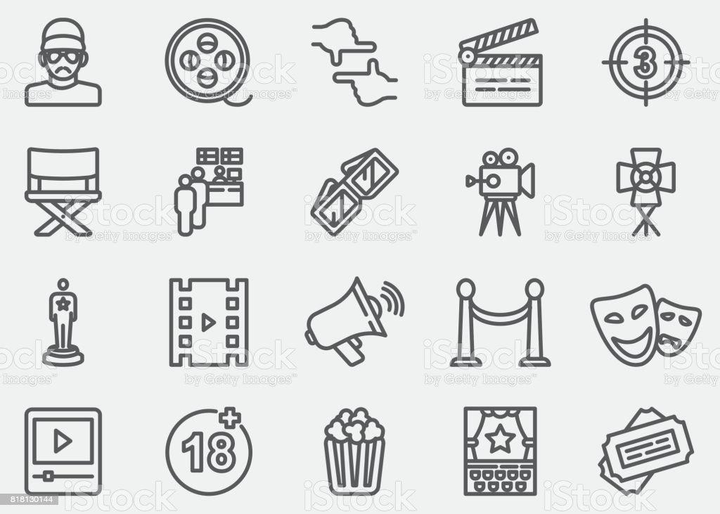 Film industry Line Icons vector art illustration