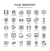 Film industry - Medium Line Icons - Vector EPS 10 File, Pixel Perfect 30 Icons.