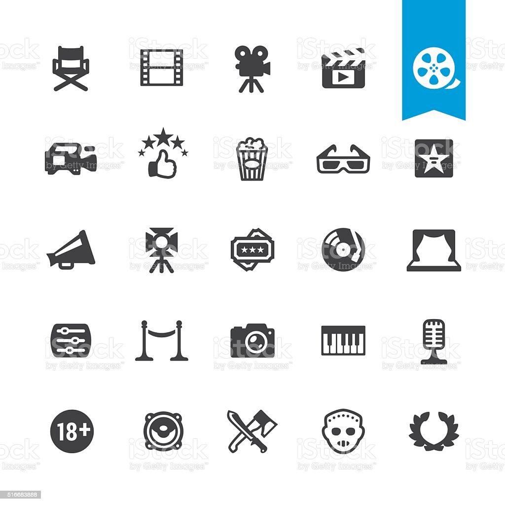 Industrie cinématographique &  icônes vectorielles signe et films à la carte - Illustration vectorielle