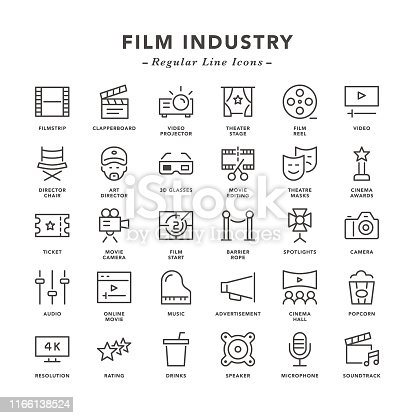 istock Film industry - Regular Line Icons 1166138524