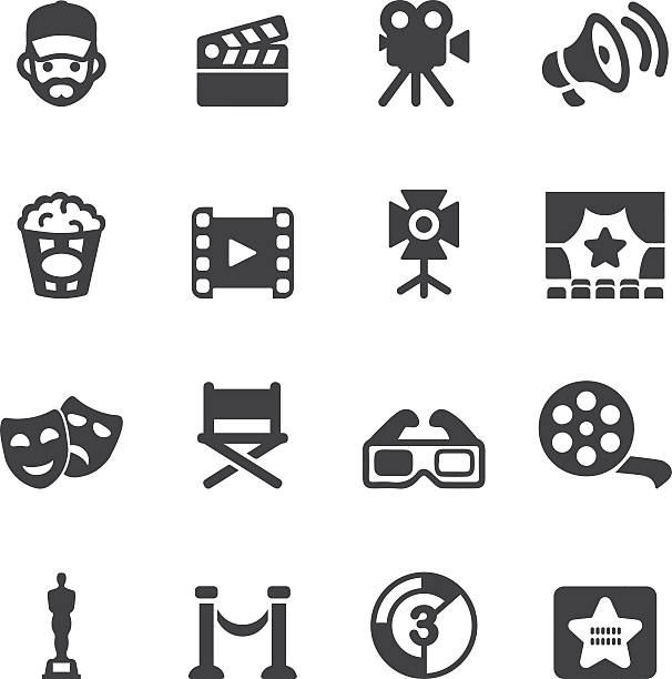 Film industry Silhouette icons | EPS10 Film industry Silhouette icons  performing arts event stock illustrations