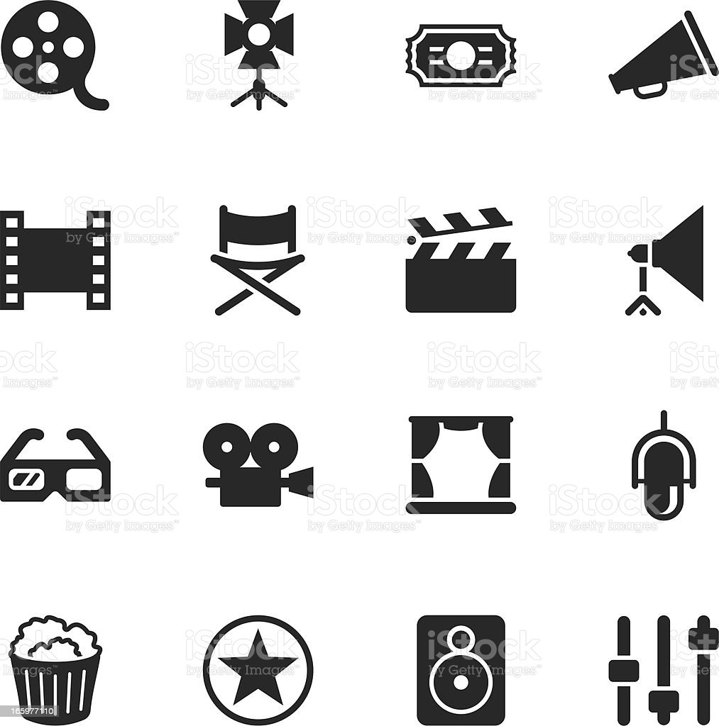 Film Industry Silhouette Icons vector art illustration