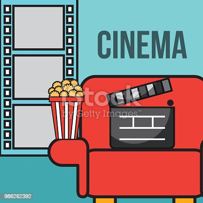 seat movie clapper board popcorn cinema vector illustration