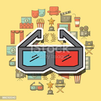 3d glasses movie film cinema vector illustration