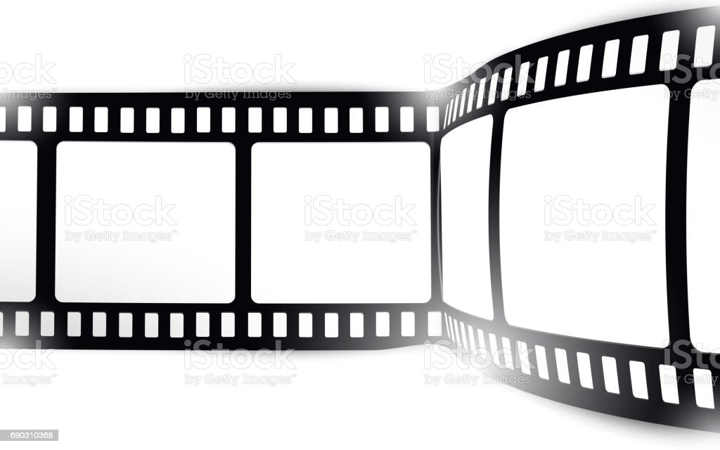film movie photo filmstrip on white in black and white colors stock