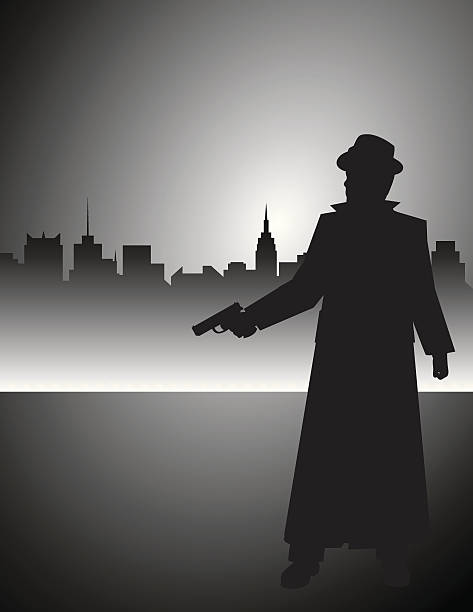 film noir detective gunman - gangster stock illustrations, clip art, cartoons, & icons