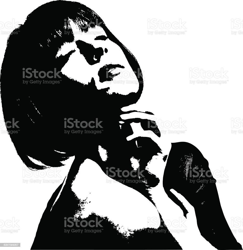 Film Noir Portrait Of Sensuous Woman vector art illustration