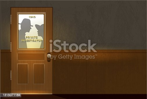istock Film Noir style Detective or Private Investigator office door with text 1315071184