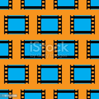 Vector illustration of blue film strips in a repeating pattern against an orange background.