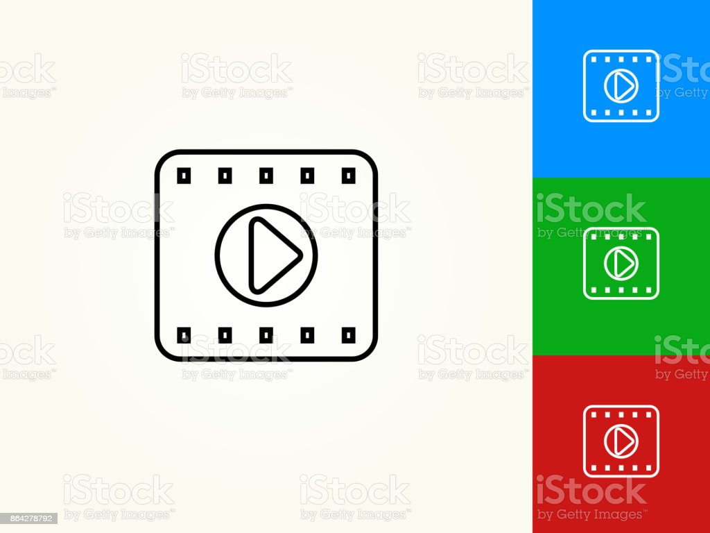 Film Play Black Stroke Linear Icon royalty-free film play black stroke linear icon stock vector art & more images of black color