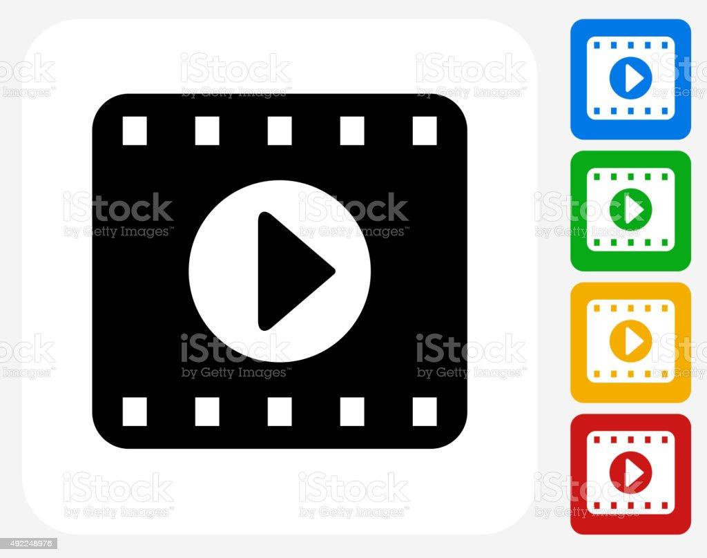 Film Play Icon Flat Graphic Design vector art illustration