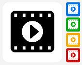 Film Play Icon Flat Graphic Design