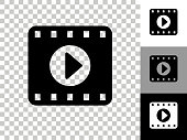 Film Play Icon on Checkerboard Transparent Background. This 100% royalty free vector illustration is featuring the icon on a checkerboard pattern transparent background. There are 3 additional color variations on the right..