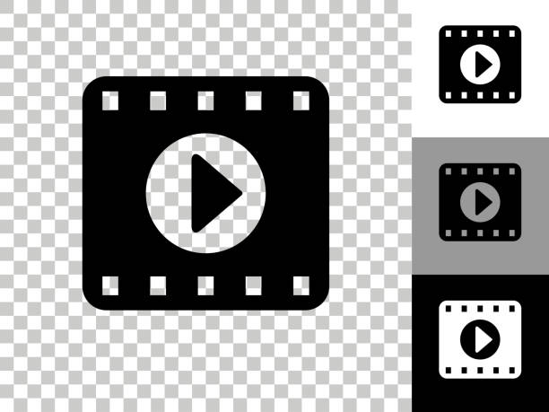 Film Play Icon on Checkerboard Transparent Background vector art illustration