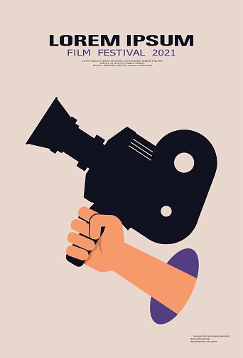 Film poster design template for cinema festival. Hand videooperator holds vintage movie camera. Cinema background. Retro movie design for brochure, banner, flyer, leaflet, poster. Movie time concept
