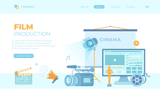 Film Production, Film making concept. Movie camera, loud speaker, clapper board, cine-film, video editor. Can use for web banner, landing page, web template.