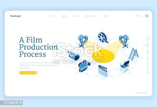 Film production isometric landing page, movie making process and equipment camera, spotlight, loudspeaker and reel with ladder and director chair stand around of illuminated stage 3d vector web banner