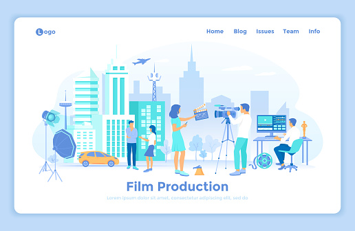 Film Production. Outdoor filmmaking scene. Shooting film with actors, camera, light, microphone. Movie director, cameraman, video editor. landing web design template decorated with people characters