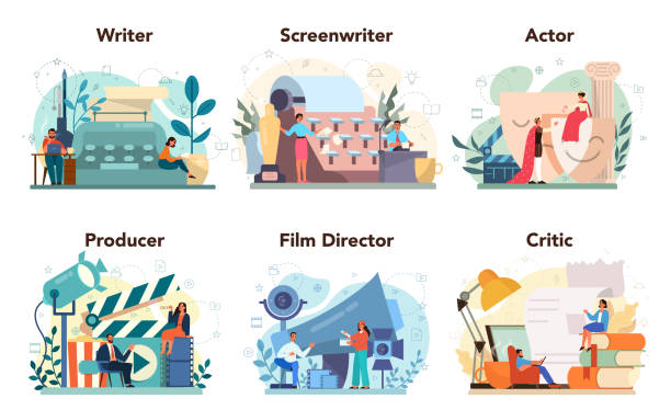 Film production profession set. Idea of creative people and profession. Movie director, actor, vector art illustration