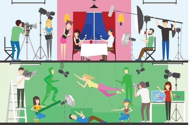 stockillustraties, clipart, cartoons en iconen met productie filmset. - green screen