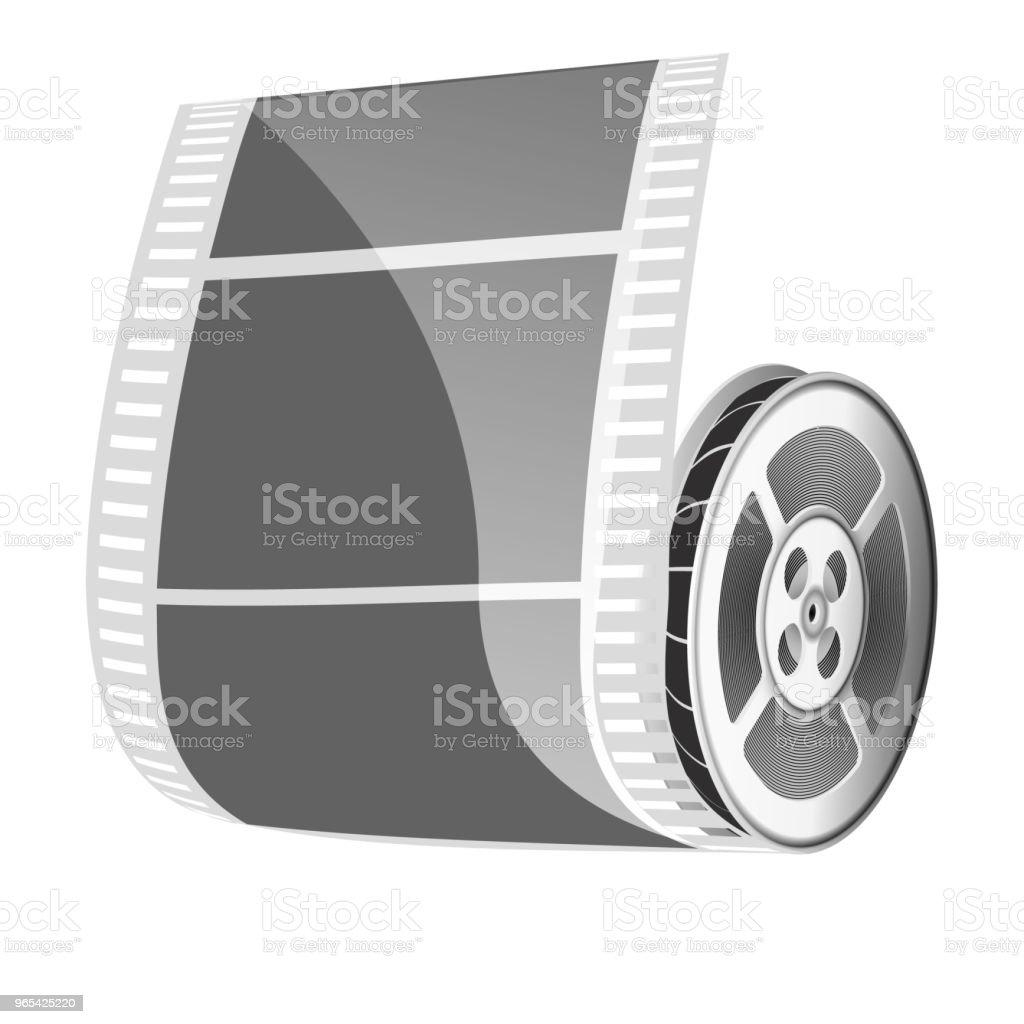 영화 릴과 영화 테이프 흰색 배경에 고립. - 로열티 프리 3차원 형태 벡터 아트