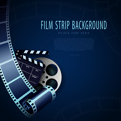 Film reel, clapper and film strips isolated on blue background. Cinema background with place for your text. 3d movie art template for cinema festival, ticket, advertising, brochure. 3D Festive design