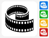 Film Reel Icon. This 100% royalty free vector illustration features the main icon pictured in black inside a white square. The alternative color options in blue, green, yellow and red are on the right of the icon and are arranged in a vertical column.