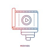 Thin line icon with gradient color, film reel symbol for video and movie compositions. Modern style vector illustration concept.