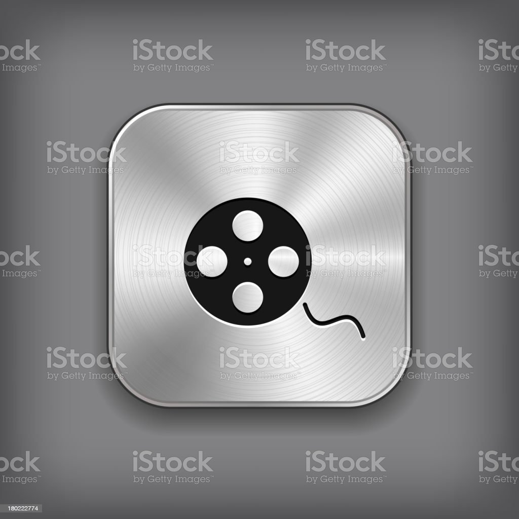 Film roll icon - vector metal app button royalty-free film roll icon vector metal app button stock vector art & more images of abstract