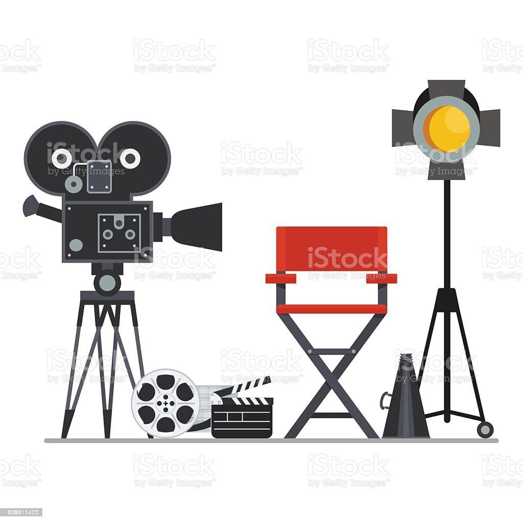 film director studio chair camera movie vector clip directors illustration cartoon illustrations megaphone projector filming crew arts vectors production hollywood