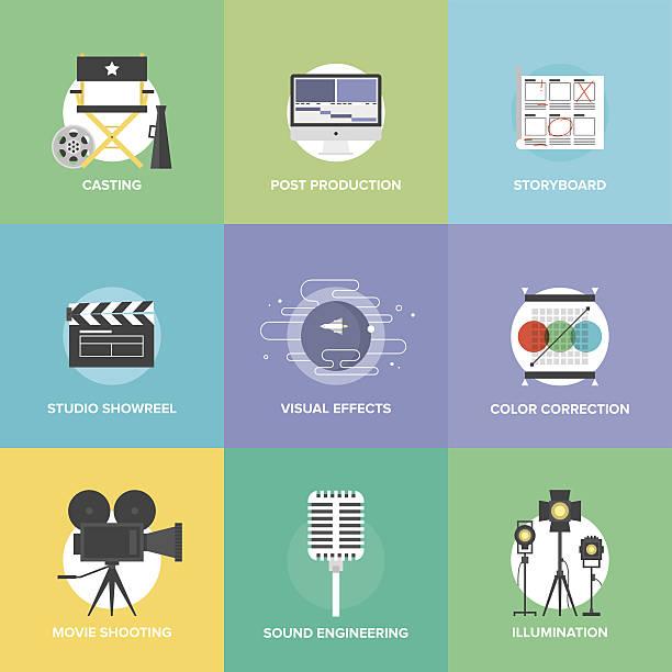 illustrations, cliparts, dessins animés et icônes de film de tir et de production d'icônes plate set - infographie industrie manufacture production