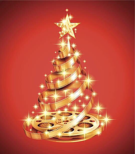 illustrazioni stock, clip art, cartoni animati e icone di tendenza di striscia di pellicola di albero di natale - christmas movie