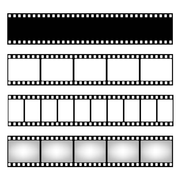 illustrazioni stock, clip art, cartoni animati e icone di tendenza di film strip collection. vector template. cinema frame - pellicola