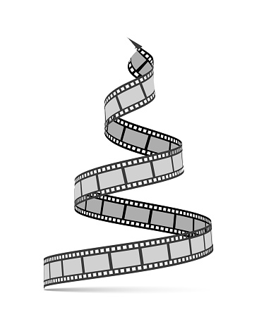 Film strip in the form of a Christmas tree. Film reel. Happy New Year for photographers, videographers, film production, etc. Vector 3d illustration on white
